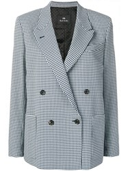 Paul Smith Ps Checked Double Breasted Blazer Blue