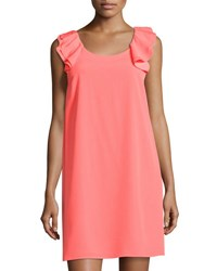 Cynthia Steffe Delilah A Line Ruffled Dress Coral