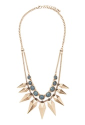 Forever 21 Spike Layered Statement Necklace Antic Gold Grey