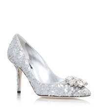 Dolce And Gabbana Bellucci Sequin Pumps 90 Female Silver