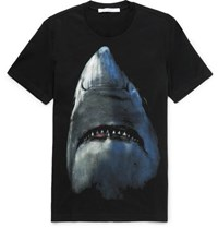 Givenchy Cuban Fit Shark Print Cotton Jersey T Shirt Black