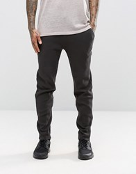 Asos Skinny Joggers In Waffle Fabric In Washed Black Washed Black