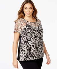 Inc International Concepts Plus Size Contrast Lined Burnout Tee Only At Macy's Deep Black