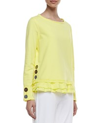 Neon Buddha Cape Side Ruffled Hem Pullover Seaside Yellow