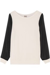 Haute Hippie Chiffon Paneled Modal Jersey Top Cream