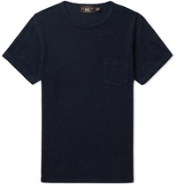 Rrl Indigo Dyed Slub Cotton Jersey T Shirt Blue