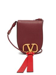 Valentino V Ring Small Leather Cross Body Bag Burgundy