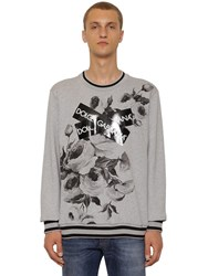 Dolce And Gabbana Printed Jersey Sweater W Logo Tape Grey