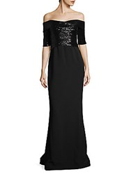 Rene Ruiz Sequined Off The Shoulder Column Gown Black
