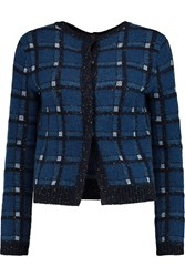 Marc By Marc Jacobs Prudence Metallic Jacquard Knit Cardigan Blue