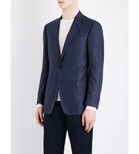 Armani Collezioni Regular Fit Wool Blend Jacket Navy