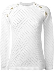 Balmain Pierre Gold Tone Shoulder Detail Jumper White