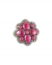 Bavna Composite Ruby And Diamond Floral Cocktail Ring Size 7
