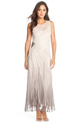 Black By Komarov Beaded Ombre Chiffon Gown Beach Smoke Ombre