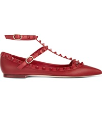 Valentino Rockstud Leather Ballerina Flats Red