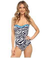 Tommy Bahama Zebra Bandeau Cup One Piece Mare Navy Women's Swimsuits One Piece
