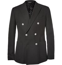 Dolce And Gabbana Black Double Breasted Cotton Piqua Blazer
