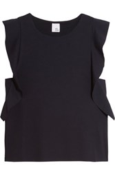 Iris And Ink Ruffle Trimmed Stretch Jersey Top Midnight Blue