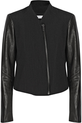 Helmut Lang Leather Sleeved Cotton And Wool Blend Jacket Black