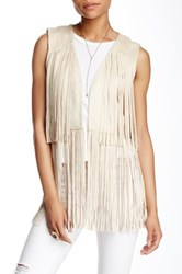 Romeo And Juliet Couture Fringe Vest Beige