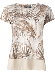 Salvatore Ferragamo Leaf Print T Shirt Nude And Neutrals