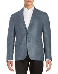 Lauren Ralph Lauren Plaid Wool Blend Jacket Blue