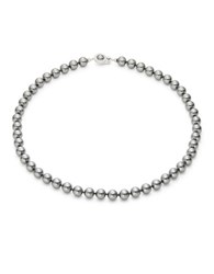 Nadri 8Mm Three Row Simulated Faux Pearl Necklace Silver