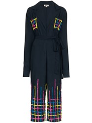 All Things Mochi Amelia Embroidered Jumpsuit Blue