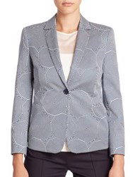 Akris Punto Cotton Sunshade Print Blazer Cream Deep Blue