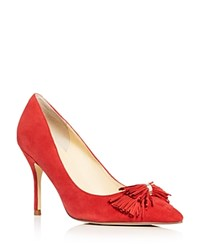 Ivanka Trump Dirent Fringe Bow Pointed Toe Pumps Red