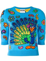 Moschino Peacock Intarsia Jumper Blue
