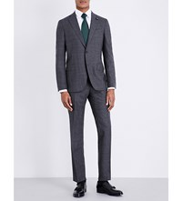 Lardini Checked Tailored Fit Wool Suit Charcoal