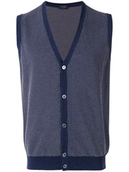 Zanone Sleeveless Cardigan Blue