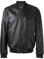 Michael Kors Leather Bomber Jacket Black