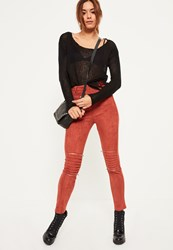 Missguided Orange Faux Suede Biker Knee Zip Detail Leggings Tan