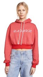 Rodarte Cropped Radarte Hoodie Red White