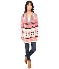 Rock And Roll Cowgirl Long Sleeve Cardigan 46 8460 Pink Women's Sweater