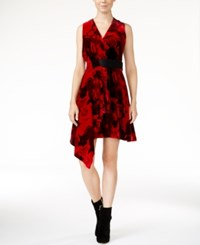Rachel Roy Draped Velvet Fit And Flare Dress Only At Macy's Rich Red Combo