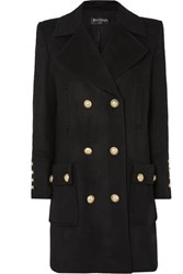 Balmain Button Embellished Double Breasted Wool And Cashmere Blend Coat Black