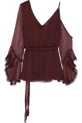 Love Sam Cold Shoulder Wrap Effect Georgette Blouse Burgundy