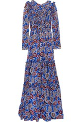 Dodo Bar Or Elvis Ruffled Paisley Print Silk Crepe Maxi Dress Blue