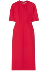 Emilia Wickstead Trista Wool Crepe Midi Dress Coral
