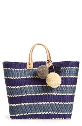 Mar Y Sol 'Capri' Woven Tote With Pom Charms Blue Navy