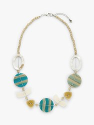 One Button Mother Of Pearl Bead Necklace Turquoise Multi