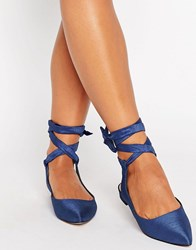 Asos Linguini Lace Up Pointed Ballet Flats Blue