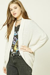 Forever 21 Popcorn Knit Dolman Cardigan Taupe Ivory