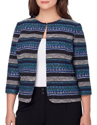Tahari By Arthur S. Levine Plus Three Quarter Sleeve Aztec Print Jacket Black