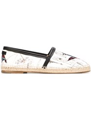Dolce And Gabbana Hummingbird Print Espadrilles White