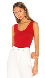 Lamade La Made You Rib Tank In Red. Flame Scarlet
