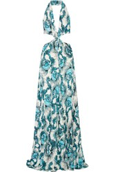 Just Cavalli Cutout Printed Stretch Jersey Gown Multi